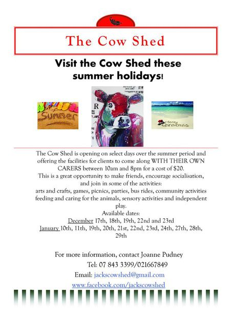 the cow shed Houchens Road Glenview Hamilton for jack flyer